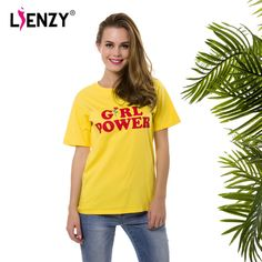 Lucky Deal $8.15, Buy LIENZY Summer Girl Power Rose T Shirt Letter White Yellow Grey Black Cotton Ladies T-Shirt Tops