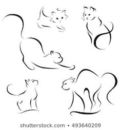 Vector: cat abstract lines on a white background vector – Cat Supplies Thigh Tattoo Designs, Tattoo Designs Men, Art Drawings For Kids, Easy Drawings, Unique Tattoos, Small Tattoos, Cat Outline Tattoo, Kitten Tattoo, Cute Cat Tattoo