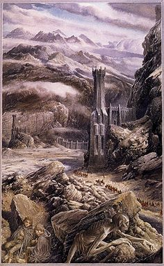 """Alan Lee - The Lord of the Rings -The road to Mordor """"None could pass the Teeth of Mordor without feeling their bite, unless they were summoned by Sauron, or knew the secret passwords that would open the Morannon, the Black Gate of his land. The two hobbits gazed at the towers and the wall in despair."""""""