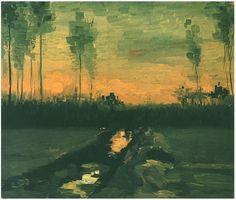 Vincent van Gogh's Landscape at Dusk Painting