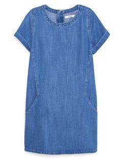 for the Liesel pattern. Mango Soft Denim Dress in Medium Blue Simple Summer Dresses, Trendy Dresses, Casual Dresses, Short Sleeve Dresses, Summer Sundresses, Denim Dresses, Sun Dresses, Dress Summer, Denim Dress Outfit Summer