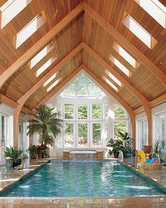 I would very much enjoy this type of pool, I love the natural light and the high wooden ceiling, I would make the area around the pool a little larger and have a large opening to an outdoor deck