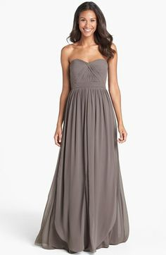 Bridesmaids? In dove grey. Jenny Yoo 'Aidan' Convertible Strapless Chiffon Gown