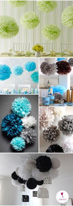 Desde a primeira vez que vi uma decoração com pompons, eu amei!! Nunca gostei muito de bexigas... e depois que descobri os pompons e que uma decoração feita com papel (E EU AMO PAPEL!) fica ainda m...