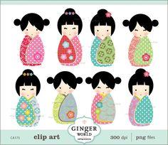 Items similar to Japanese kokeshi Doll kawaii clip art digital file illustration for scrapbooking (CA175) on Etsy. , via Etsy.