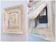 Secret Door  Kristin at My Uncommon Slice of Suburbia created a shabby chic cover for her garage door opener using just an old frame, a hinge, scrap wood, and a crystal knob.