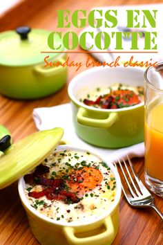 Eggs en Cocotte Baked with Cream & Bacon - Mini Cocotte Recipe! Bacon Recipes, Gourmet Recipes, Cooking Recipes, Ceramic Dutch Oven, Mini Cocotte Recipe, Tiny Cooking, Paris Food, Dutch Oven Recipes, Morning Food