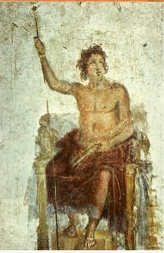 Painting of Alexander as Zeus (?), perhaps based on an original by Apelles of Kos. Pompeii, House of the Vettii. 1st c. CE.   Apelles' original painted Alexander as Zeus Kerauunophoros, originally at great temple of Artemis of Ephesos. Pliny describes details of events of competition and image-making.