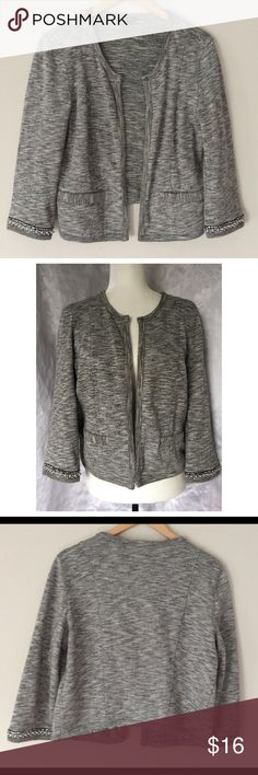 Express pearls cardigan blazer💄 -By Express -Gorgeous versatile cardigan blazer with pearl & sequined lined wrists  -Sadly cardigan purchased for an event and never worn -Size L, may fit M-L -100% cotton -measures 23in. long/open front style/chest 16.5in. across/sleeves between 3/4 and wrist length measuring 19in. long -non functional front pockets Express Jackets & Coats Blazers