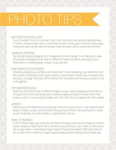 Photo Tips Printable
