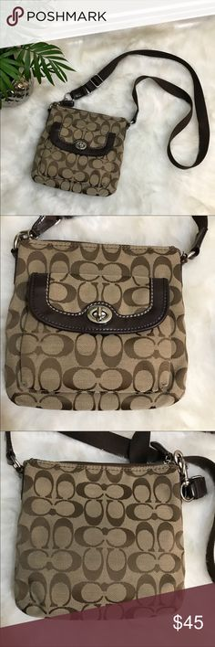 Coach Signature Cross-Body Bag Gently loved Coach Signature Cross-Body Bag. Some wear you can see in photos.   • Adjustable strap.  • Inner wall pocket.  • See photo for measurements.  • See photos for damages.  💕Offers welcome on single items and on bundles💕 🛍 15% off bundles of 2+ Coach Bags Crossbody Bags
