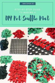 DIY pet snuffle mat. A great toy to hide your pets treats and let them have fun trying to find it.