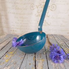 old ladle blue , vintage, vintage ladle, bowl, brocante, container ,retro kitchen,   Polish enamel, vintage kitchen