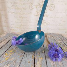 old ladle blue , vintage, vintage ladle, bowl, brocante, container ,retro kitchen,   Polish enamel, vintage kitchen