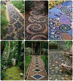 Beautiful mosaic stone walkways, garden path