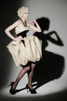 Sculptural Fashion - avant garde dress with soft 3D folds; artistic fashion design