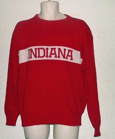 Vintage L Indiana University IU Hoosiers Red and White Sweater