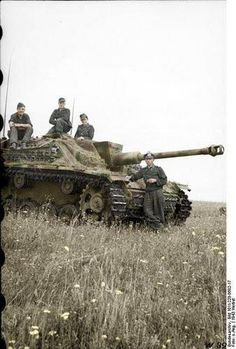 A Stug-III somewhere on the eastern front, 1943. I love this one, because it's in color.