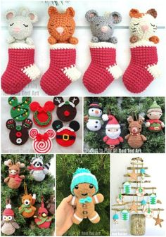 Red Ted Art's collection of FREE Christmas crochet. **Christmas in July** because some things take longer to plan and make! Like these GORGEOUS free Crochet Patterns. Wouldn't it be adorable to make a crochet stocking advent calendar? SO CUTE!! Get started now. Crochet Ornament Patterns, Crochet Snowflake Pattern, Christmas Crochet Patterns, Crochet Snowflakes, Crochet Toys Patterns, Stuffed Toys Patterns, Mickey Mouse Ornaments, Fox Ornaments, Crochet Stocking