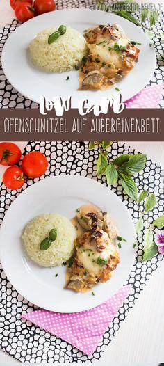 Low Carb Ofenschnitzel auf Auberginenbett mit Blumenkohlreis