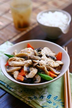 Moo Goo Gai Pan - If you have not heard of Moo Goo Gai Pan, it's a popular chicken and mushroom dish commonly found in most Chinese take-outs, Chinese buffets in the Midwest (during my college days), the East Coast, and the Southern states of America.