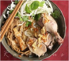 bun mang vit - Vietnamese duck noodle soup - the Ravenous Couple - I debone the duck and make a duck broth out of the carcass along with the other broth ingredients <3 why waste a perfectly good duck carcass?? (plus I simmer the broth for hours~ not minutes)
