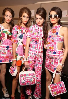 It was all about the flower power on the Moschino catwalk as models donned bright hues