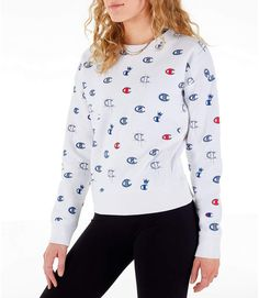 Women's Champion Reverse Weave Allover Print Crewneck Sweatshirt  (っ◔◡◔)っ ♥ Follow on Pinterest for cute style inspo @katesstylediary ♥ Crew Neck Sweatshirt, Graphic Sweatshirt, Only Online, Latest Styles, Pink Candy, Online Purchase, Hoodies, Sweatshirts, Lounge Wear