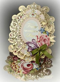 Easel card, made with dies from Spellbinders and Heartfelt Creations. Paper, sentiment and flowers are from Anna Griffin. Side Step Card, Mother's Day Printables, Shabby Chic Stil, Happy Mother S Day, Happy Mothers, Spellbinders Cards, Anna Griffin Cards, Step Cards, Fancy Fold Cards