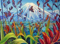 Mt Ngauruhoe by Irina Velman - Art Prints New Zealand Watercolor Landscape, Landscape Paintings, Flower Paintings, Volcano Photos, Beach Drawing, New Zealand Art, Maori Art, Kiwiana, Country Scenes