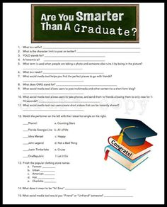 Graduation Party Game Are You Smarter Than A Graduate