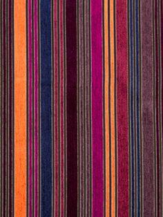 Orange Stripe Fabric by the Yard - Textured Woven Upholstery - Orange Fuchsia Navy Fabric