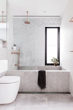 50 best of big bathrooms ideas concrete bathtub and tile in modern bathroom via inside out Minimal Bathroom, Modern Bathroom Design, Bathroom Interior Design, Small Bathroom, Bathroom Marble, Master Bathrooms, Dream Bathrooms, White Bathrooms, Luxury Bathrooms