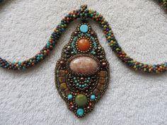 Sun stone, orange quartzite, blue howlite and jasper bead. OOAK FFF