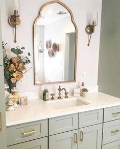 Bathroom decor for your master bathroom renovation. Discover bathroom organization, master bathroom decor a few ideas, master bathroom tile a few ideas, bathroom paint colors, and more. Bathroom Renos, Bathroom Renovations, Bathroom Interior, Small Bathroom, Master Bathrooms, Bathroom Cabinets, Gold Mirror Bathroom, Remodel Bathroom, Brass Bathroom Fixtures