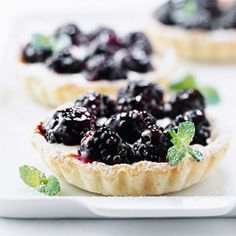 Lemon-Blackberry Mini Tarts - When blackberries are in season, make these mini desserts. They're quick to put together.