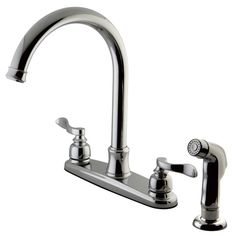 You'll love the NuWave French Centerset Double Handle Kitchen Faucet with Side Spray at Wayfair - Great Deals on all Home Improvement  products with Free Shipping on most stuff, even the big stuff.