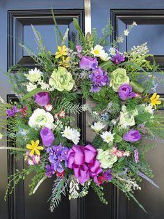 Spring Wreath Purple and Light Green by FleursDeLaVie on Etsy, $88.95