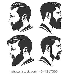 <img> Man with beard variations silhouette - Mens Hairstyles With Beard, Haircuts For Men, Trendy Hairstyles, Beard Styles For Men, Hair And Beard Styles, Hair Styles, Beard Images, Beard Art, Men Beard
