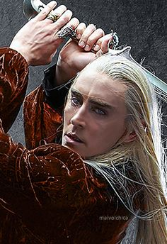 """""""Lee Pace. You know, when he came for the promo shots for Thranduil,  he had been a model. So he actually knew what he was doing. He would just whip his cape off and pull these amazing shots and figures. Every photo with his sword - I mean, it just looked like he was making love to the sword. When I went back and looked at all of his promo photos, we could have used them all. It's a shame only four or five were released."""" D. Falconer, Weta's elf armor and elf costume designer."""