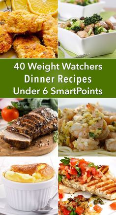 40 Weight Watchers Dinner Recipes Under 6 SmartPoints including Lemon and Herb Shrimp Baked Shrimp Egg Drop Soup Cheese Souffle Pork Chops Pork Tenderloin Chili Chicken Fried Rice Mexican Chicken Breasts Eggplant Casserole Salmon Turkey Meatbal Plats Weight Watchers, Weight Watchers Diet, Weight Watcher Dinners, Weight Watcher Desserts, Weight Watchers Chicken, Ww Recipes, Dinner Recipes, Cooking Recipes, Healthy Recipes