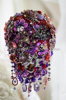 Wedding brooch bouquet purple red plum - Vibrant Cascade Elite Collection - Wedding Brooch Bouquet Designed for Purple Red Weddings, Bridal Flowers and Special Events! Pewter Wedding, Purple Wedding, Wedding Brooch Bouquets, Bride Bouquets, Cascading Bouquets, Broach Bouquet, Purple Themes, Wedding Themes, Wedding Ideas