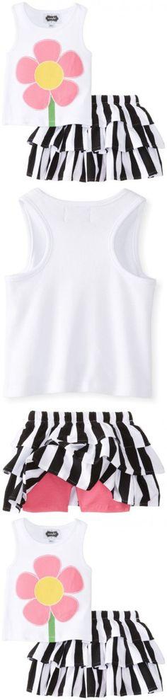 Mud Pie Little Girls' Flower Skirt Set, Black/White, 4T