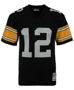 8488024e5 Mitchell  amp  Ness Men s Terry Bradshaw Pittsburgh Steelers Replica Throwback  Jersey - Black XXL Michael