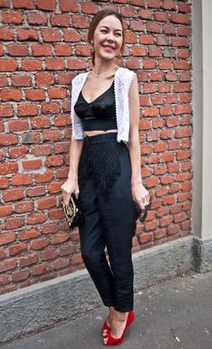 crop tops looks great teamed with high waisted trousers.
