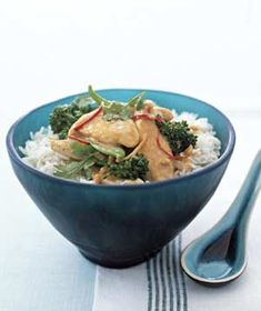 SATAY CHICKEN STIR-FRY WITH SNOW PEAS:  For a stick-to-your-ribs lunch, try a chicken-and-vegetable stir-fry flavored with ginger.  41 G Protein