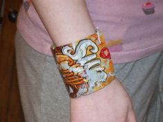Create these junk drawer jewelry projects with simple household items.: Potato Chip Bag Bracelet