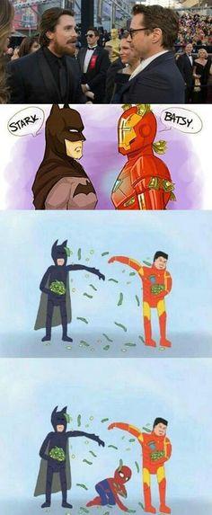Ha too funny batman and iron man