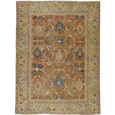 Antique Persian Mahal Rug | From a unique collection of antique and modern persian rugs at https://www.1stdibs.com/furniture/rugs-carpets/persian-rugs/