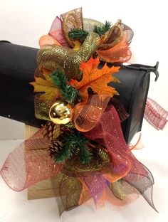 Mailbox mesh Garland Swag Decoration for Fall or by CustomCreated, $30.00